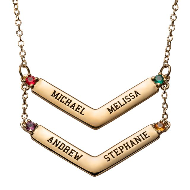 Gold over Sterling Double Layered Engraved Names and Birthstone Necklace
