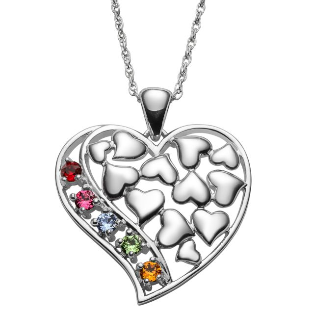 Sterling Silver Family Floating Hearts Birthstone Pendant