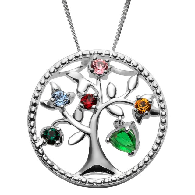Sterling Silver Mother's Dangling Heart Family Tree Pendant