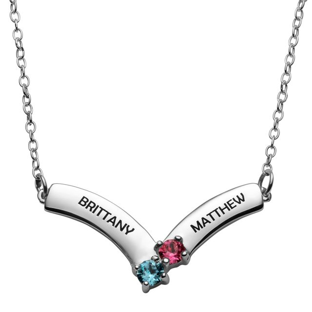 Sterling Silver Engraved Names and Birthstone Necklace