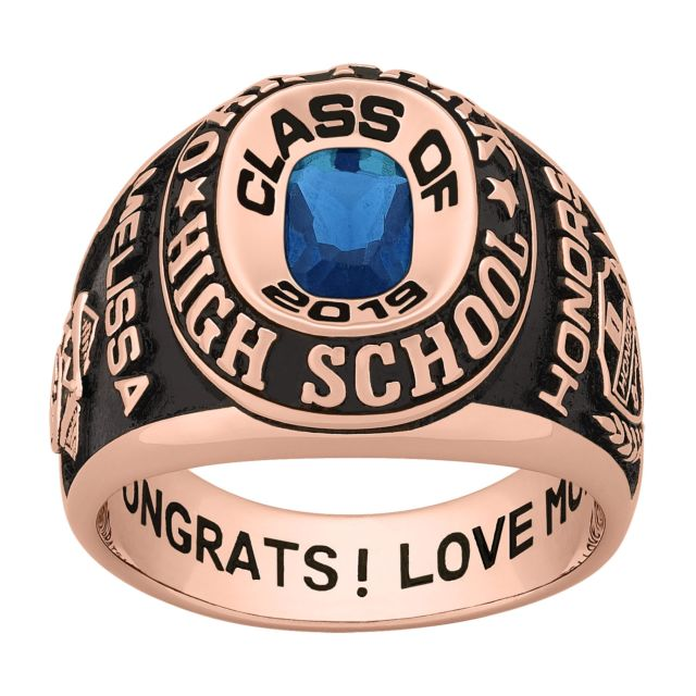 Ladies Rose Gold CELEBRIUM Double Row Traditional Birthstone Class Ring