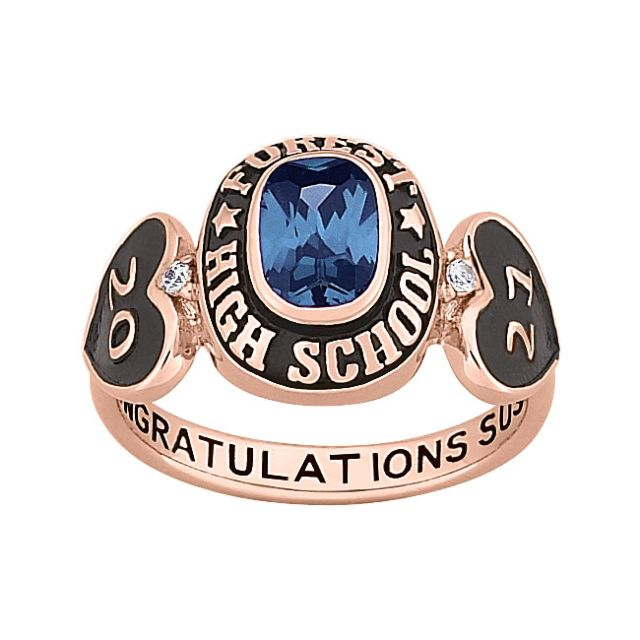 Ladies Rose Gold over Sterling Genuine Diamond Hearts Birthstone Class Ring