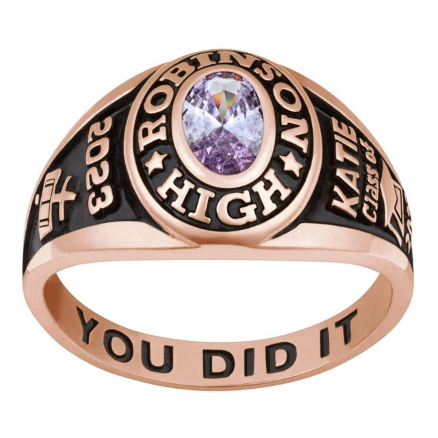 Ladies 14K Rose Gold over Sterling Traditional Petite Oval Birthstone Class Ring