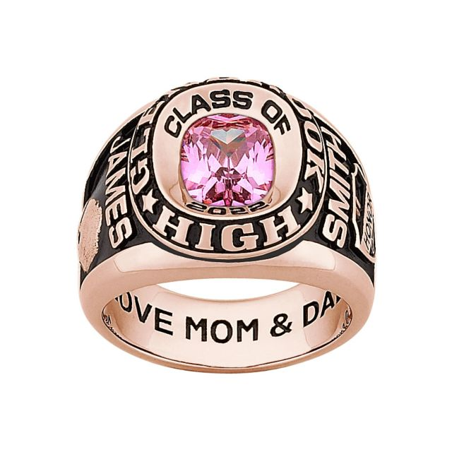 Men's Rose Gold CELEBRIUM Double Row Traditional Birthstone Class Ring