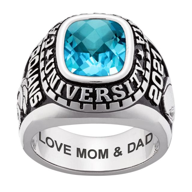 Men's CELEBRIUM Large Traditional Checkerboard Birthstone Class Ring