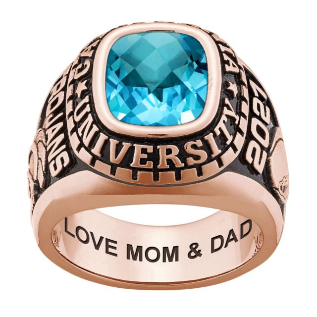 Men's Rose Gold CELEBRIUM Large Traditional Checkerboard Birthstone Class Ring