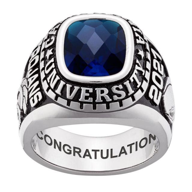 Men's Sterling Silver Large Traditional Checkerboard Birthstone Class Ring