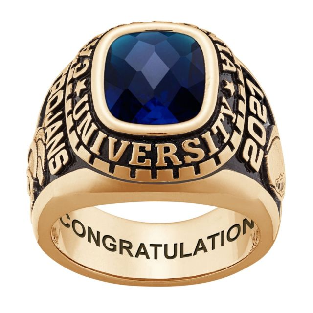 Men's Gold over Sterling Large Traditional Checkerboard Birthstone Class Ring