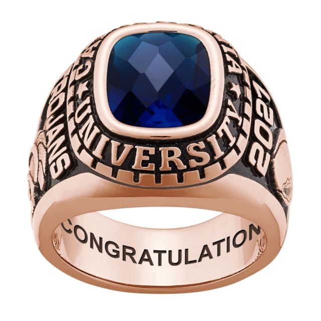 Men's Rose Gold over Sterling Large Traditional Checkerboard Birthstone Class Ring