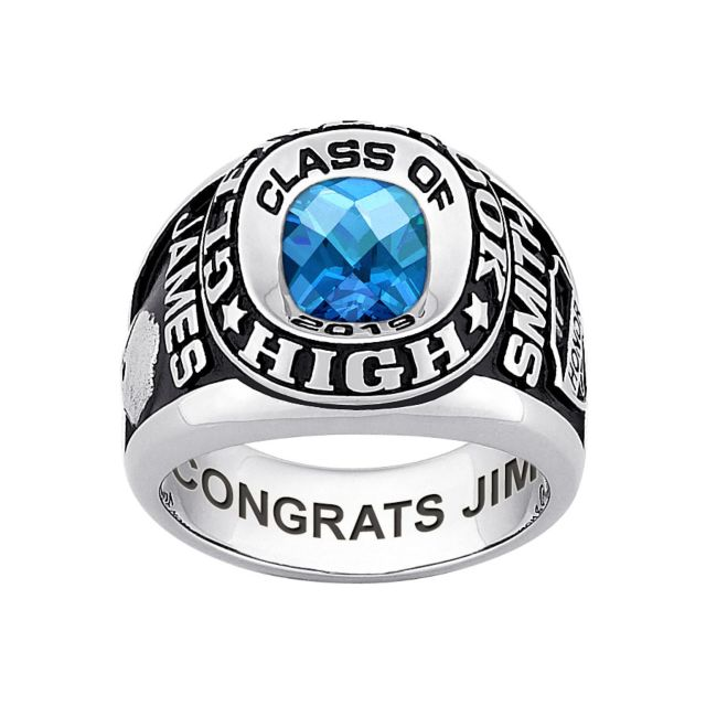 Men's CELEBRIUM Double Row Traditional Checkerboard Birthstone Class Ring