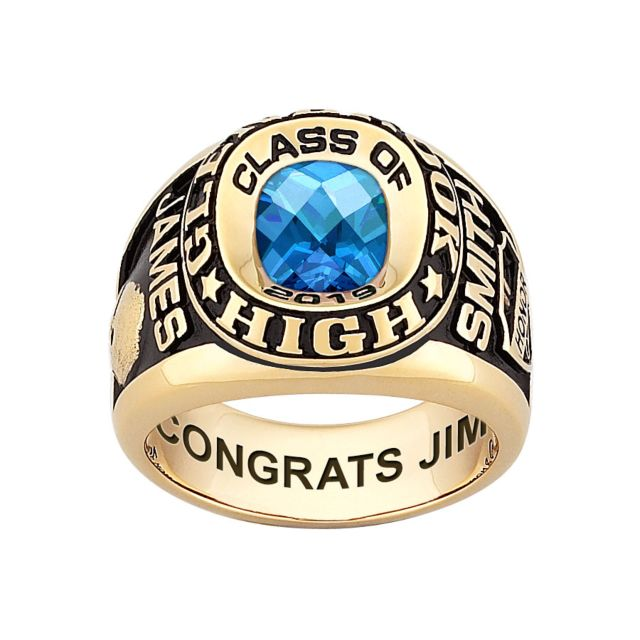 Men's Yellow CELEBRIUM Double Row Traditional Checkerboard Birthstone Class Ring