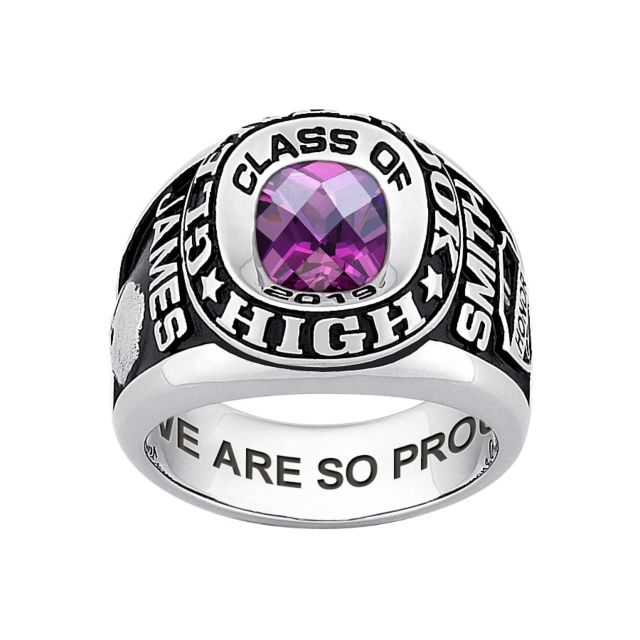 Men's Sterling Silver Double Row Traditional Checkerboard Birthstone Class Ring