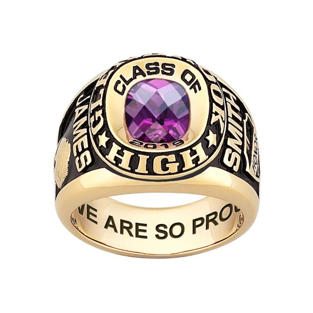 Men's 14K Gold over Sterling Double Row Traditional Checkerboard Birthstone Class Ring