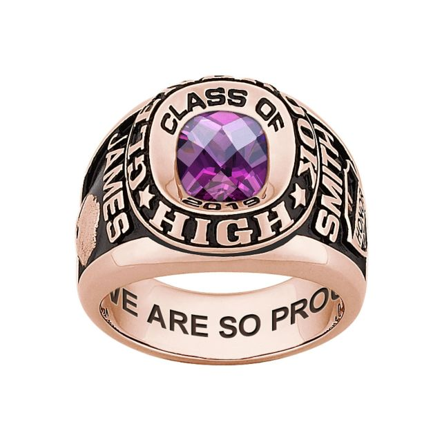 Men's 14K Rose Gold over Sterling Double Row Traditional Checkerboard Birthstone Class Ring