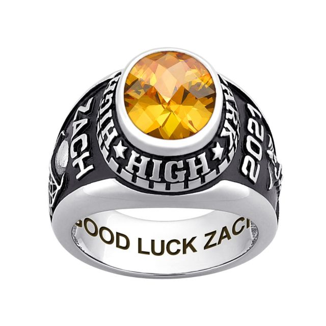 Men's CELEBRIUM Traditional Oval Checkerboard Birthstone Class Ring