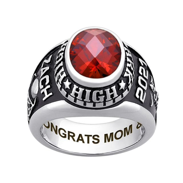Men's Sterling Silver Traditional Oval Checkerboard Birthstone Class Ring