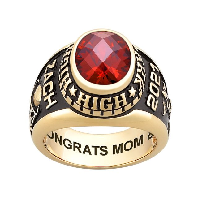Men's Gold over Sterling Traditional Oval Checkerboard Birthstone Class Ring