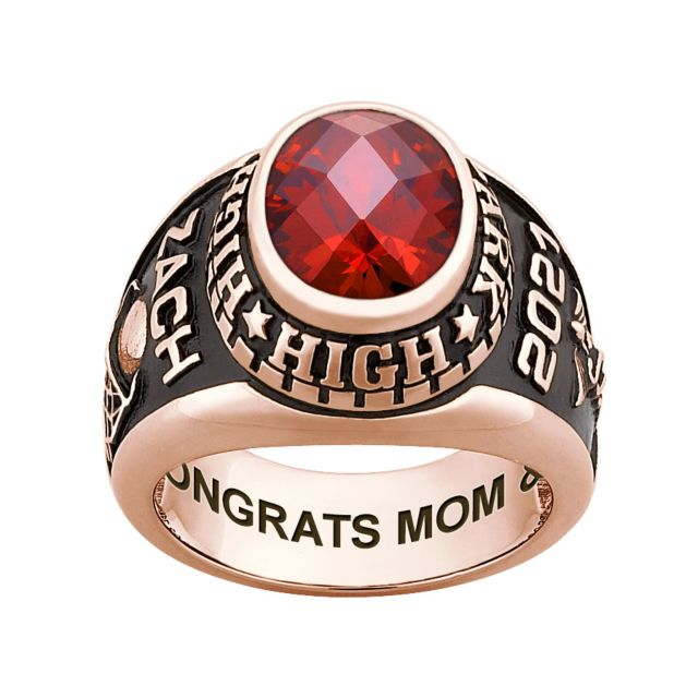 Men's Rose Gold over Sterling Traditional Oval Checkerboard Birthstone Class Ring