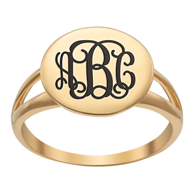 Gold over Sterling Engraved Monogram Round Double Band Ring