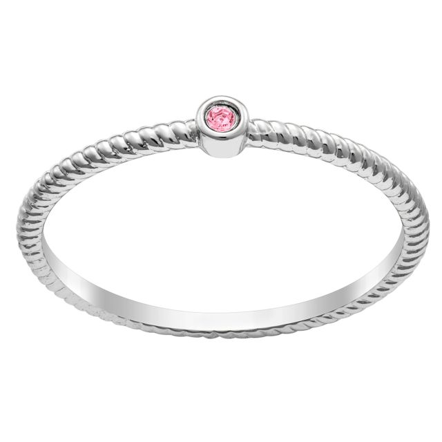 Sterling Silver Twisted Rope Birthstone Band