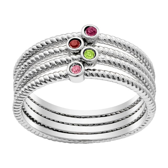 Twisted Rope Birthstone Band 4 Piece Set