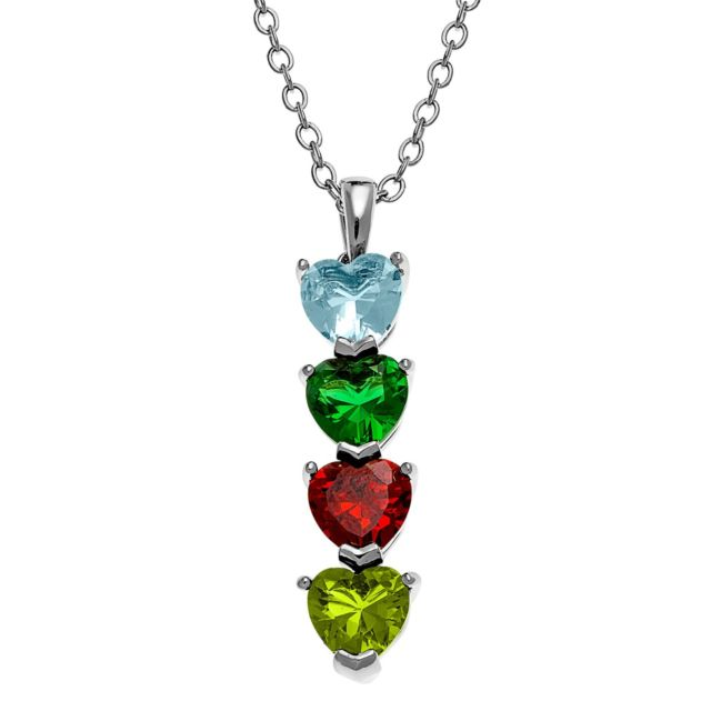 Silvertone Stacked Heart Family Birthstone Necklace