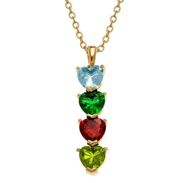 Goldtone Stacked Heart Family Birthstone Necklace
