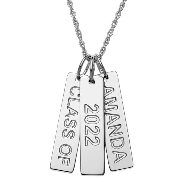 Sterling Silver Engraved Graduation 3 Tag Necklace