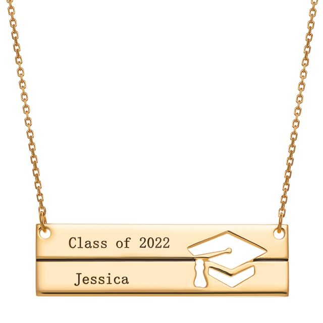 Gold over Sterling Engraved Graduation Bar Necklace