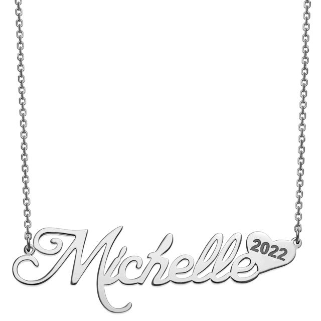 Sterling Silver Name with Graduation Year Heart Necklace