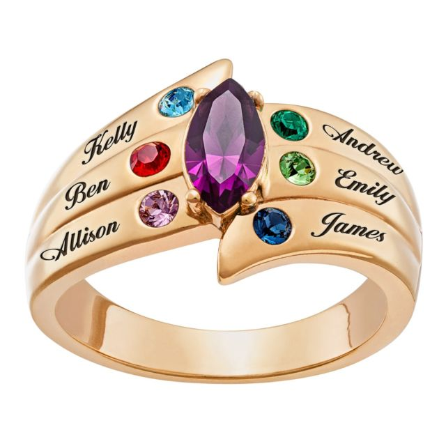 Mother's Marquise Birthstone Family Name Ring