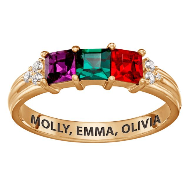 Gold over Sterling Mother's Square Birthstone Ring with CZ Accents