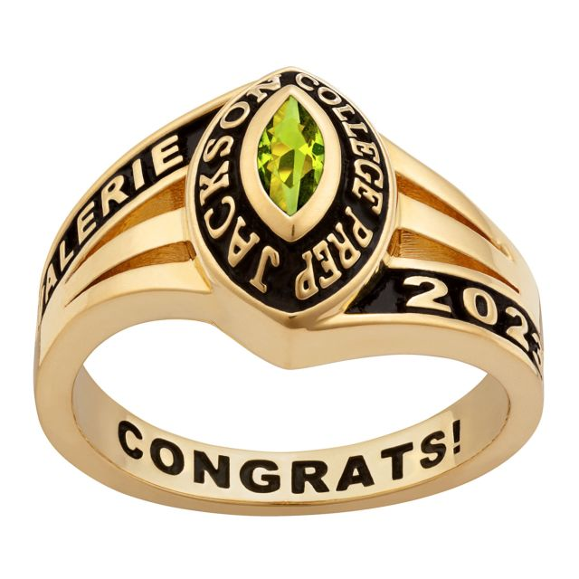Ladies' 14K Gold Plated Celebrium Marquise Tailored Class Ring