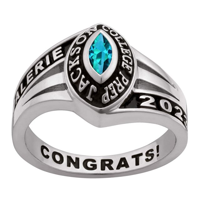Ladies' Platinum Over Sterling Silver Birthstone Traditional Class Ring