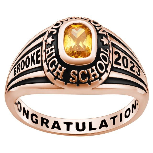 Ladies' Rose Gold Over Celebrium Traditional Class Ring