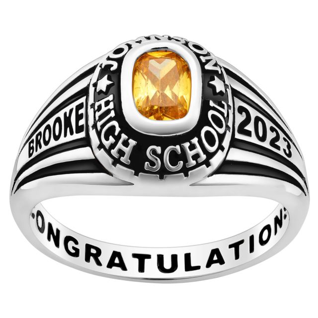 Ladies' Platinum Over Sterling Traditional Class Ring