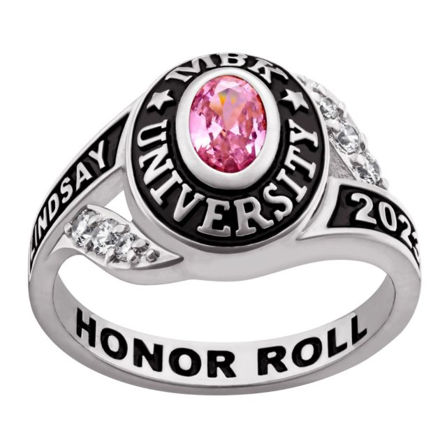 Ladies' Platinum Plated Sterling Silver Birthstone Traditional Class Ring