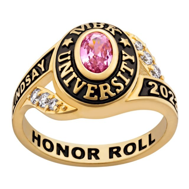Ladies' 14K Gold over Sterling Birthstone Traditional Class Ring