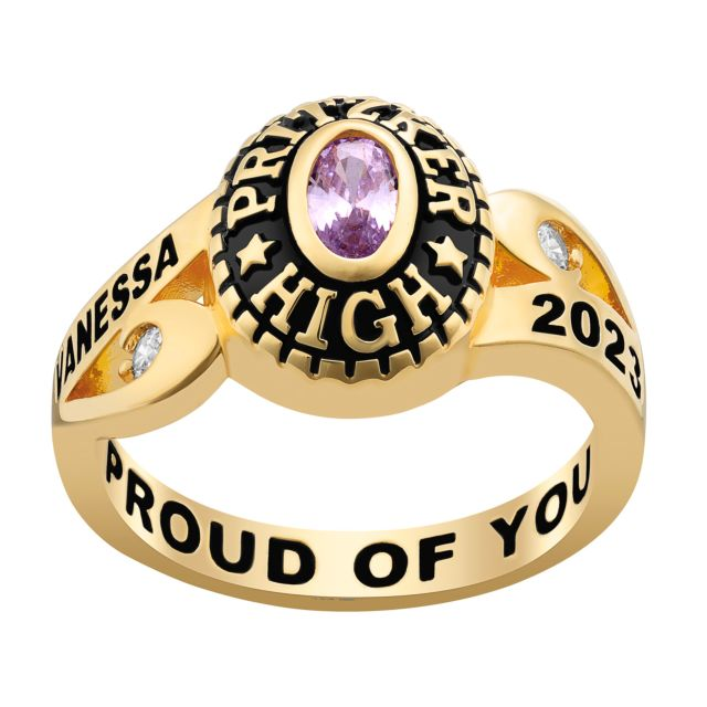 Ladies' Gold Over CZ Scroll Bypass Birthstone Class Ring