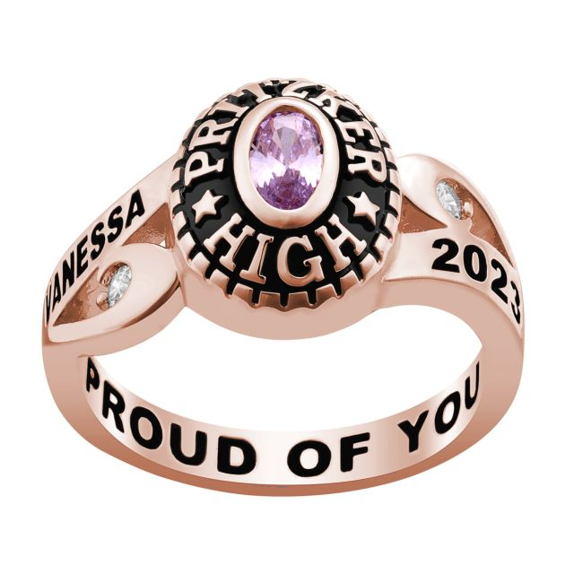 Ladies' Rose Gold Over Celebrium CZ Scroll Bypass Birthstone Class Ring