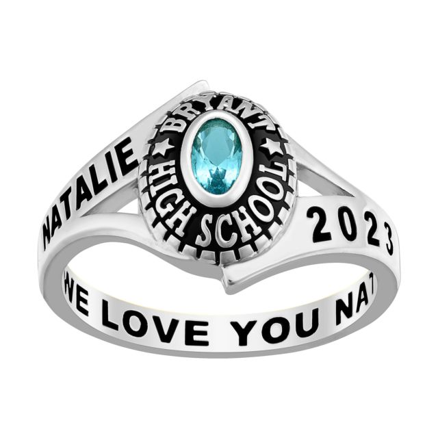 Ladies' Class Ring in Platinum Over Celebrium In Traditional Birthstone Styling