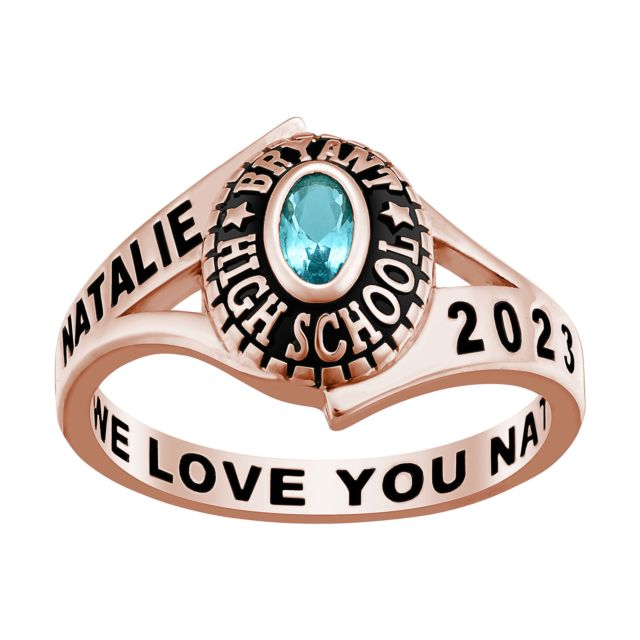 Ladies' Class Ring in Rose Gold Over Celebrium In Traditional Birthstone Styling