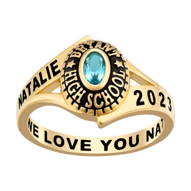 Ladies' Gold Over Sterling Silver Birthstone Traditional Class Ring