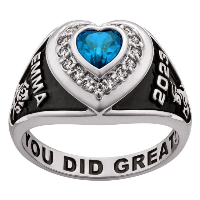 Ladies' Platinum over Sterling Silver CZ Heart Class Ring