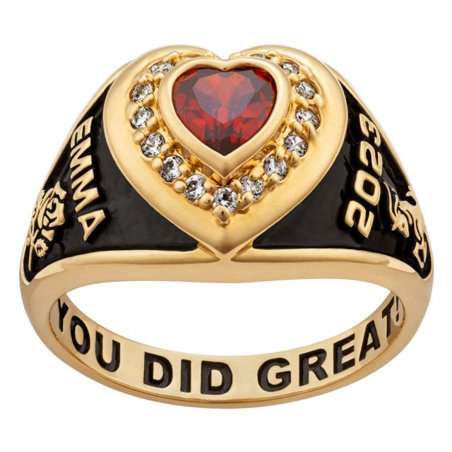 Ladies' 14K Gold over Sterling  CZ Heart Class Ring
