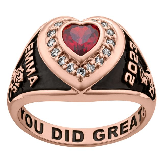 Ladies' 14K Rose Gold over Sterling  CZ Heart Class Ring
