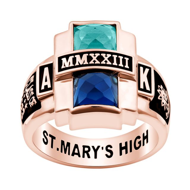 Ladies' Rose Gold over Sterling Double Birthstone Rectangle Class Ring
