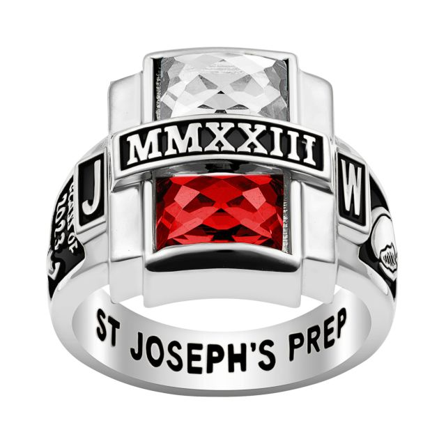 Men's Rhodium Plated Double Birthstone Rectangle Class Ring