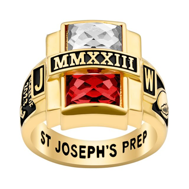 Men's Gold Plated Double Birthstone Rectangle Class Ring