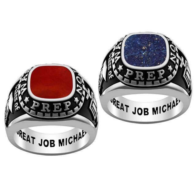 Men's Platinum Plated Genuine Stone Class Ring